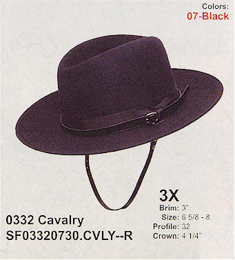 Cavalry hat from Stetson hats