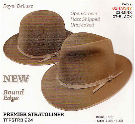 87d04f12 Premier Stratoliner Stetson hat with Open Crown